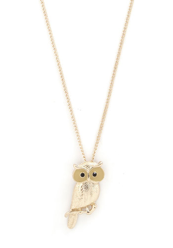 Hoot Have Thought? Necklace - Black, Print with Animals, Owls, Gold, Good