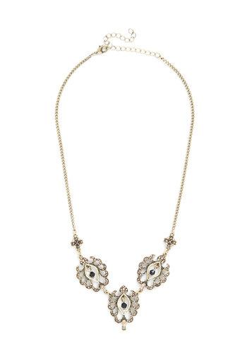 Emit Exquisiteness Necklace - Solid, Rhinestones, Statement, Gold, Better, Vintage Inspired, 20s, Wedding, Bridesmaid, Bride