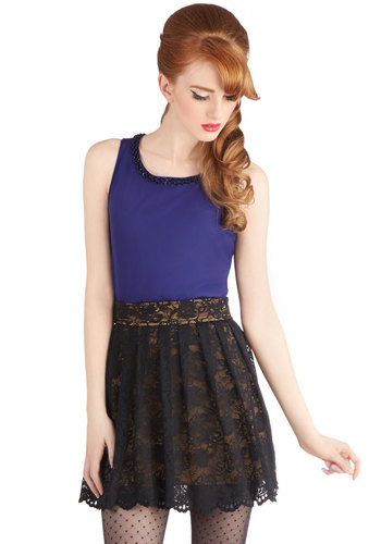 Evening Upgrade Skirt - Black, Lace, Pleats, Holiday, Holiday Party, Good, Sheer, Knit, Short, Mini, Black, Lace