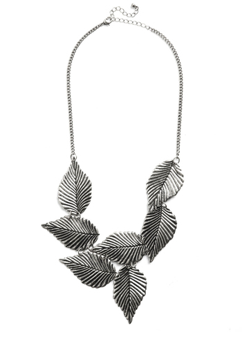 Leafing Town Necklace in Silver - Silver, Solid, Chain, Statement, Tis the Season Sale, Exclusives, Silver, Fall