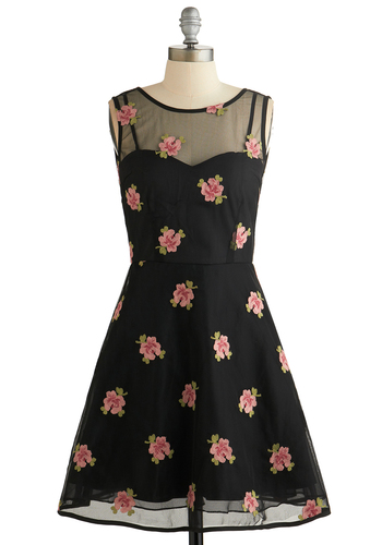 It's a Date Night Dress - Sheer, Knit, Mid-length, Black, Green, Pink, Floral, Embroidery, Cocktail, A-line, Sleeveless, Better, Scoop, Party