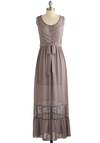 Delight on Time Dress - Solid, Buttons, Lace, Belted, Maxi, Sleeveless, Good, Scoop, Long, Chiffon, Sheer, Woven, Purple, Casual, Lace