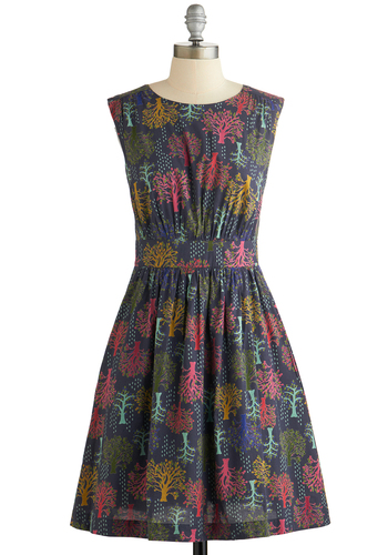 Too Much Fun Dress in Woodland by Emily and Fin - Casual, Sleeveless, Better, International Designer, Scoop, Cotton, Woven, Multi, Novelty Print, Pockets, Variation, Work, Mid-length, Fit & Flare, Exclusives