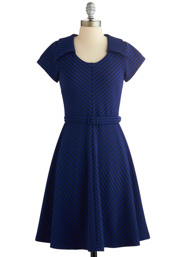 To a Tee Time Dress in Navy by Myrtlewood - Blue, Black, Stripes, Belted, Work, A-line, Short Sleeves, Better, Collared, Exclusives, Mid-length, Knit, Private Label