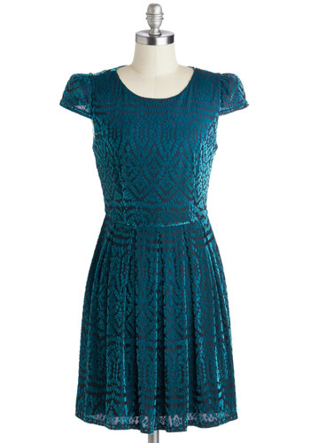 New on The Sheen Dress - Blue, Print, Cutout, Pleats, Cocktail, A-line, Cap Sleeves, Winter, Better, Scoop, Holiday Party, 20s, Sheer, Knit, Short