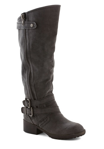Just the Two of Adventurous Boot - Low, Faux Leather, Grey, Solid, Buckles, Exposed zipper, Steampunk, Better, Casual, Fall, Winter, Variation