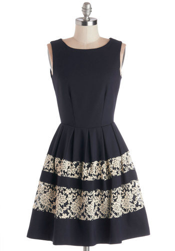 A Dreamboat Come True Dress in Navy - Blue, Tan / Cream, Solid, Lace, Party, A-line, Sleeveless, Better, Scoop, Knit, Mid-length, Exposed zipper, Fit & Flare, Variation