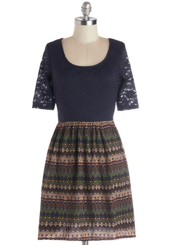 Meet at the Corner Cafe Dress - Mid-length, Sheer, Knit, Woven, Blue, Multi, Print, Lace, Casual, A-line, Short Sleeves, Good, Scoop