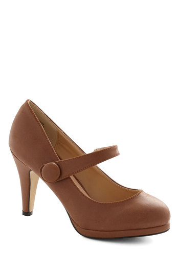 Network Wonderful Heel - Mid, Faux Leather, Brown, Solid, Buttons, Mary Jane, Work, Basic