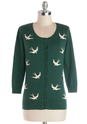 Birdlandia Cardigan in Green - Knit, Cotton, Mid-length, Green, Print with Animals, Buttons, Work, Casual, Vintage Inspired, 50s, Critters, Button Down, 3/4 Sleeve, Better, Scoop, Green, 3/4 Sleeve, White, Variation