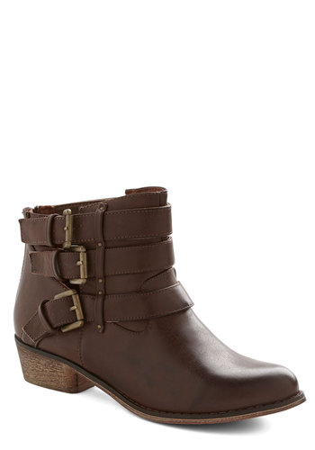 It Just So Happens Bootie - Low, Faux Leather, Brown, Solid, Buckles, Good