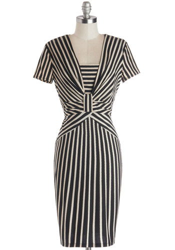 Defining Glamour Dress - Mid-length, Knit, Black, White, Stripes, Work, Shift, Short Sleeves, Better, Vintage Inspired, 40s