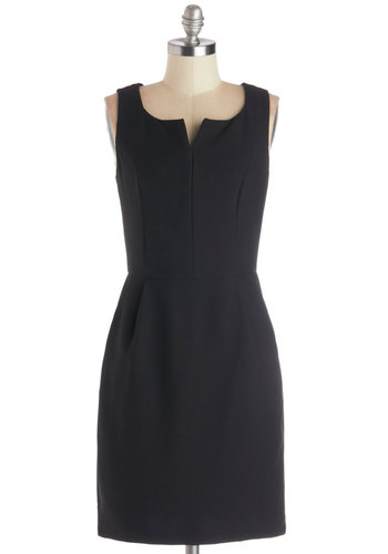 Five Year Plan Dress - Black, Solid, Work, Shift, Sleeveless, Good, V Neck, Woven, Mid-length, Pockets, Basic
