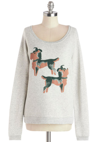 Pup and Away Sweatshirt by Kin Ship - Knit, Mid-length, Grey, Print with Animals, Casual, Sweatshirt, Long Sleeve, Better, Exclusives, Grey, Long Sleeve, Vintage Inspired, 80s, Critters, Scoop