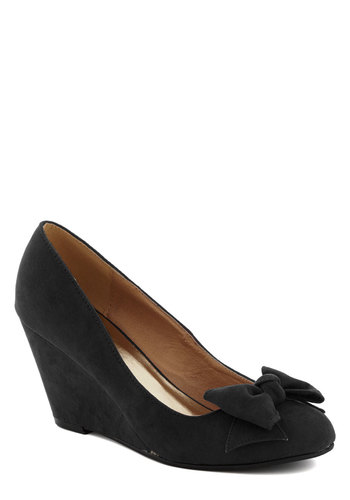 Party Hostess Wedge in Black - Mid, Black, Solid, Bows, Party, Holiday Party, Good, Wedge, Work, Variation