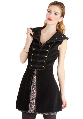 Castle Party Vest - Cotton, Woven, Long, Black, Solid, Buttons, Military, Steampunk, Sleeveless