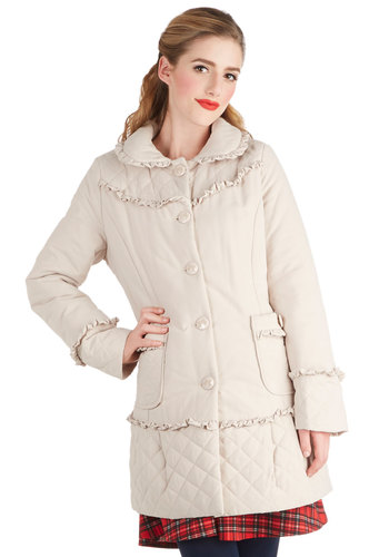 Bucktown Boutique Coat - Woven, Long, Cream, Solid, Bows, Buttons, Pockets, Quilted, Ruffles, Long Sleeve, Winter, 3