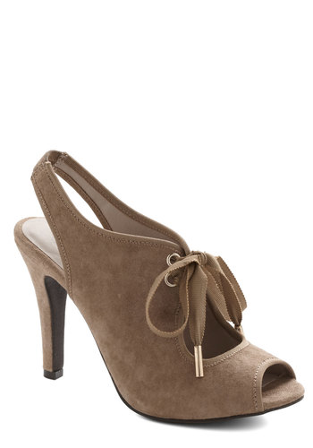 Phenomenon Heel in Taupe - High, Leather, Suede, Tan, Solid, Cutout, Girls Night Out, Best, Peep Toe, Slingback, Lace Up, Variation