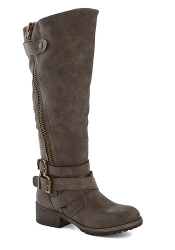 Just the Two of Adventurous Boot in Asphalt - Low, Faux Leather, Solid, Buckles, Exposed zipper, Steampunk, Better, Grey, Casual, Fall, Winter, Variation