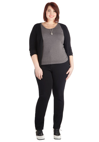 Chorus and Versatile Jeans in Black - Plus Size - Cotton, Black, Solid, Pockets, Winter, 90s