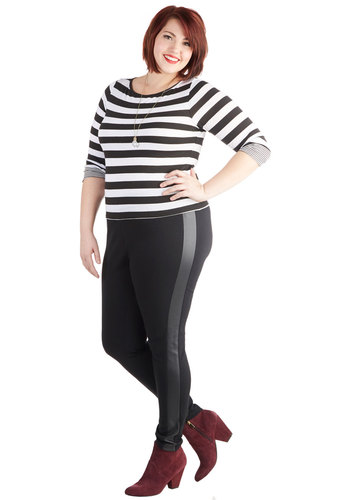 Star of the Showcase Leggings in Plus Size - Faux Leather, Knit, Black, Solid, Skinny