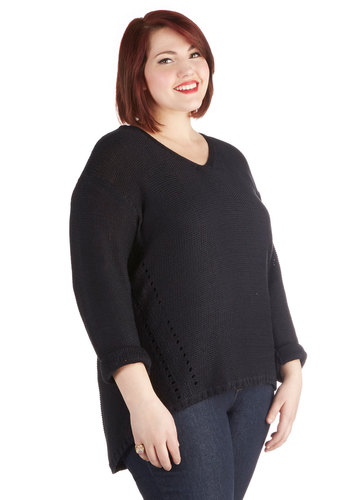 Voice Lessons Sweater in Plus Size - Sheer, Knit, Black, Solid, Knitted, Casual, Long Sleeve, V Neck