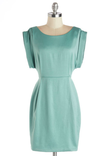 Shower with Compliments Dress in Green - Green, Solid, Party, Shift, Cap Sleeves, Scoop, Wedding, Cocktail, Minimal, Variation, Satin, Mint, Exclusives, Short