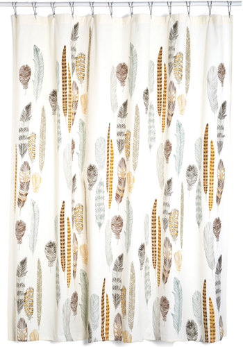 Chirp Your Enthusiasm Shower Curtain - Cotton, Woven, Multi, Rustic, Best, Novelty Print