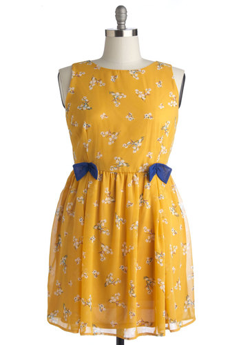 Darling Disposition Dress in Plus Size - Chiffon, Woven, Yellow, Blue, White, Floral, Bows, Casual, A-line, Sleeveless, Good, Crew