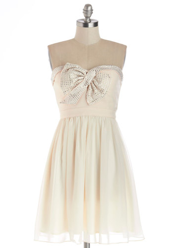 High-Spirited Hostess Dress - Cream, Bows, Rhinestones, Prom, Party, A-line, Strapless, Better, Sweetheart, Mid-length, Chiffon, Woven, Silver, Holiday Party, Homecoming