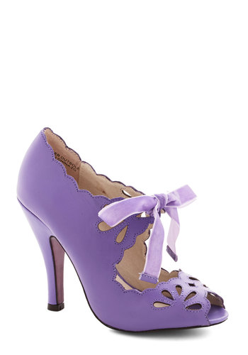 Dainty Dramaturge Heel in Lavender - High, Leather, Purple, Solid, Cutout, Prom, Wedding, Daytime Party, Bridesmaid, Bride, Pastel, Darling, Better, Peep Toe, Fairytale, Vintage Inspired, 20s, 30s, Variation, Valentine's, Spring, Special Occasion