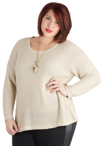 Film Festivities Sweater in Plus Size - Knit, Cream, Solid, Casual, Long Sleeve, Basic, Scoop