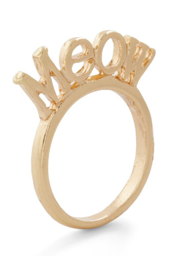 Meow and Forever Ring - Solid, Cats, Gold, Good, Quirky