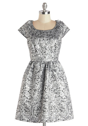 Shimmer and Shine Dress - Black, Paisley, A-line, Cap Sleeves, Good, Scoop, Woven, Mid-length, Silver, Party, Holiday Party, Prom