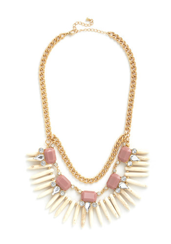 Glitz It Up Necklace - Pink, White, Rhinestones, Tiered, Statement, Gold, Better