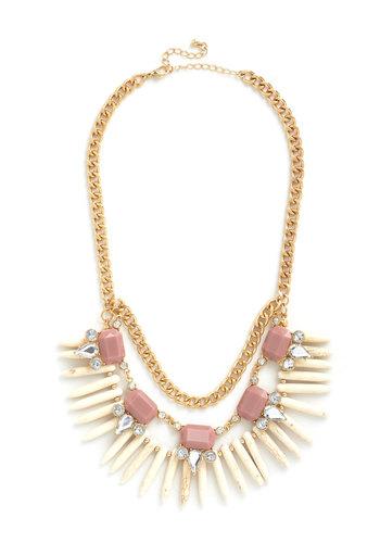 Glitz It Up Necklace - Pink, White, Rhinestones, Tiered, Statement, Gold, Better