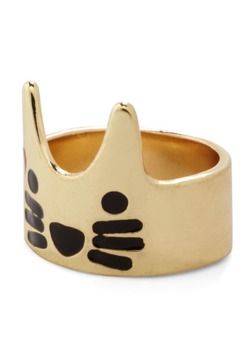 Purr of the Moment Ring - Print with Animals, Cats, Gold, Good, Gold, Black, Quirky