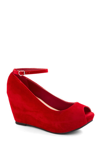 After Party Planner Wedge in Red - Mid, Red, Solid, Party, Good, Wedge, Peep Toe, Platform, Variation