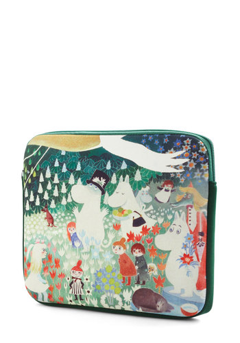 Moomin and Shaking Tablet Case by Disaster Designs - Green, Multi, Print with Animals, Travel, International Designer, Quirky, Graduation, Critters, Bird, Woodland Creature