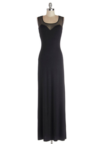 Caraway Fizz Dress - Sheer, Knit, Jersey, Long, Black, Solid, Cocktail, Maxi, Sleeveless, Good, Sweetheart