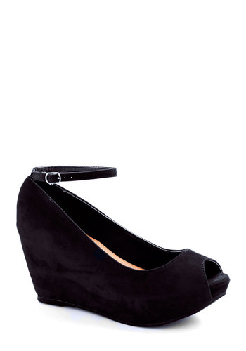 After Party Planner Wedge in Black - Mid, Black, Solid, Party, Good, Wedge, Peep Toe, Platform, Variation