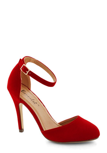 Dinner and Dancing Heel in Rouge - High, Faux Leather, Red, Solid, Prom, Wedding, Party, Cocktail, Girls Night Out, Holiday Party, Good, Variation, Valentine's