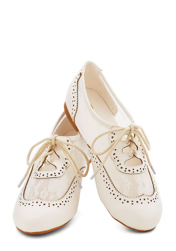 Marina Ballerina Flat in White - Flat, Sheer, Faux Leather, Cream, Solid, Cutout, Lace, Vintage Inspired, 20s, 30s, Good, Lace Up, Variation, Lace, Top Rated