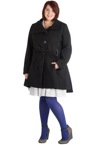 Winterberry Tart Coat in Black - Plus Size by Steve Madden - Faux Leather, 3, Black, Solid, Buttons, Pockets, Belted, Long Sleeve, Winter, Variation