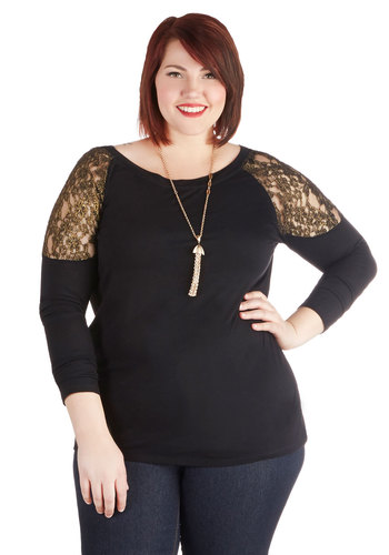 Guild Seeker Top in Plus Size by BB Dakota - Sheer, Knit, Black, Gold, Solid, Lace, Long Sleeve, Scoop