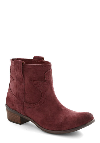 The West and the Brightest Boot by Lucky - Red, Chunky heel, Low, Leather, Suede, Solid, Better, Rustic
