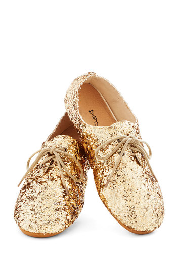 Scintillating Steps Flat - Flat, Gold, Party, Holiday Party, Menswear Inspired, Good, Lace Up, Glitter