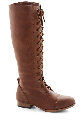 Odyssey to Believe Boot - Low, Faux Leather, Tan, Solid, Steampunk, Good, Lace Up, Fall