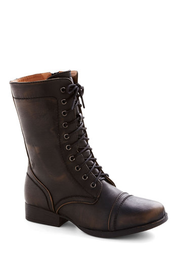 Bronze in a Lifetime Boot - Low, Faux Leather, Solid, Military, Good, Lace Up, Bronze
