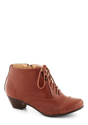 Historic District Bootie in Wood - Low, Faux Leather, Tan, Solid, Menswear Inspired, Good, Lace Up, French / Victorian, Steampunk, Variation